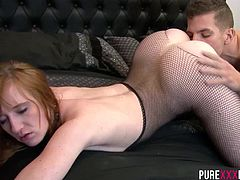 Sabrina Jay is one redhead slutty babe that likes to enjoy a big cock. Even better cumming from her boyfriend and squeezes it dry over her fine ass.