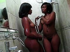 African Darksome Lesbian Babes threatening-menacing Large butt Africans go nasty in shower