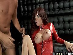 Latex hottie acquires large rod in her arsehole Gia Dimarco two