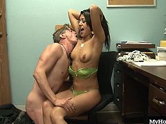 Lyla Storm gets that pussy plowed whenever she wants, but only by white dudes. Something about the pale skin and the pink head on the end of that erect boner really gets her going, and this job interview is getting really steamy, and soon enough shes getting his load sprayed onto her back, which puts a huge grin on her face.