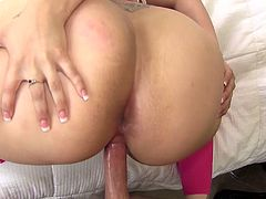 Fat ass girl in sheer pink tights fucked in her hot cunt