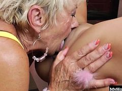 These old ladies arent experienced porn stars by any means, but theyre sure taken a dick or two in their time. Gladys is a blonde wrinkly snowbird that makes out with one of the younger ladies in town, Genesis, before spreading her legs for Harry, the college stud ready to blow his load onto her face.