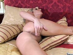 Blonde Silvia Saint having fun with vibrator