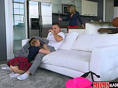 Horny couple was having a quality time. The cute little girl sucked boy's dick, then he licked her pussy on the sofa. Girl's mom Cory Chase, caught them, which turned her really on. She mustarbated on the kitchen...