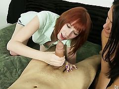 Ashli Ames is too horny to stop sucking her mans erect rod