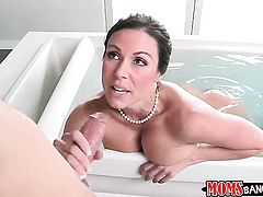 Brunette with huge tits and clean cunt is one oral slut who gives guys beefy cock a try
