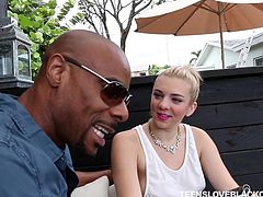 Blonde pretty teen Tiffany Watson, was sitting at outdoors, when her huge ebony neighbour came to visit her. It was not just the polite visit, he wanted to get a piece of this fresh teen pussy, in search of an easy sex. Watch Tiffany sucking big black dick and balls with great passion. Enjoy interracial sex action!