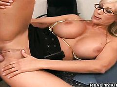 Blonde Puma Swede with giant boobs and hairless cunt gives handjob on cam for your viewing pleasure
