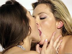Three pretty lesbian babes are going as wild as never before