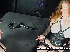 Get ready for some really freaky threesome session, it's hard to resist this redhead mistress bitch. She dominates over her blonde slave, hottie needs to satisfy her girlfriend right away.