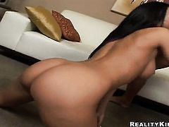 Brunette Rachel Starr with round booty and hairless twat gets her mouth stretched by dudes stiff love stick