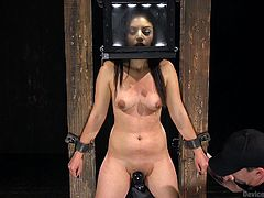 A naked brunette wearing makeup gets awfully aroused, while trapped in a kinky bondage device. A merciless executor whips her small nice tits and fingers her cunt, until it gets all wet and juicy. Click to enjoy the crazy details!