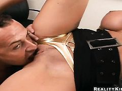 Blonde Puma Swede with juicy breasts and trimmed pussy jerks the sperm out of guys cum loaded love wand