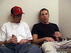 Tag is waiting for Kent Stryker to come pick him up for an afternoon of skateboarding and decides to kill some time watching porn video. When Kent finally shows up he has to cancel the skating plans, because his skateboard was confiscated by the cops. So, the two horny young guys decide to fuck instead of skating. After taking turns sucking each others hard dick, Kent plants his deep into Tags hairy ass. Kent pulls out long enough to decorate Tags face with his cum, as Tag finishes himself of