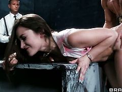 Brunette Dani Daniels getting face slammed for your viewing enjoyment