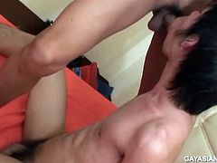Aom sits at the edge of the bed watching gay porn with adorable Non, and he cant seem to keep his hands off his cute friend. He slips Nons cock out of the leg of his boxers and starts stroking. Nons dick swells up and soon the two cuties are pissing, sucking, and fucking like a couple of horny Thai boys.