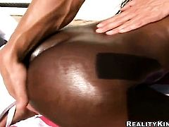 Cocoa Jada Fire with giant boobs and shaved pussy gets turned on then skull fucked