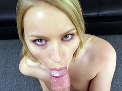 Blonde with a beautiful smile sucks him hard and gets laid
