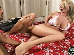 Blonde with gigantic melons and smooth twat swallows guys erect boner