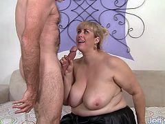 Pretty and sexy big titted plumper gets her big boobs sucked and licked and she sucks her guy's fat dick and gives him a tit fuck. Then she takes his dick deep inside her chubby pussy until her cums on her tits.