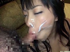 Sankihon Nozomi has a peculiar taste for cum. She just loves being surrounded by cocks. She will do anything, as long as in the end she gets her face covered in cum. She will stop at nothing, until she literally bathes in sperm. Gotta admit, she sure is such a cum bucket!