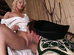 Lindsey Olsen with tiny boobs and hairless beaver shows her slutty side to hot guy by taking his stiff love stick in her mouth