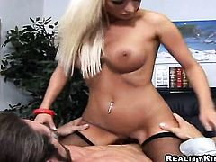 Blonde with huge jugs and smooth snatch does oral job for hard cocked fuck buddy to enjoy