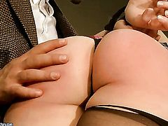 Blonde Melyssa with giant knockers gets her butt invaded