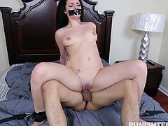 This is the perfect way to take revenge on cheating girlfriend, but don't try this. Kacey Quinn cheated his boyfriend by having sex with her boss and before dumping her, he wanted to teach her a lesson. He forcibly entered her house, tied her in spread eagle position and banged her really hard.
