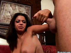 Tiffany Taylor with massive knockers lets man cover her nice face in sperm