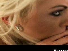Blonde Renato with massive hooters and clean bush makes her dirty dreams a come true with dudes worm deep down her throat