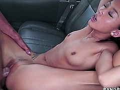 Playful Oriental beauty with slender body Alina Li drilled hard in car