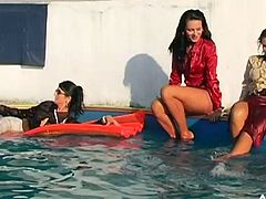 Bosomy and sexy lesbians stripping while playing around the pool