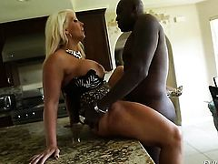 Lexington Steele enjoys throbbing worm deep inside her pussy in interracial hardcore action