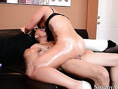 Brunette Kelsi Monroe with big booty takes guys cum loaded snake in her fuck hole