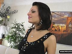 Russian girl Masha More slides out of her black dress during her casting interview and sits on the couch fully nude except for her shoes. A guy joins her and she soon sucks on his big cock until he is rock hard. He pushes his dick into her tight ass before the facial cumshot ending.