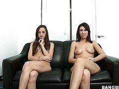 Brunette Natalie Nunez gets her pretty face covered in man goo on camera for your viewing entertainment