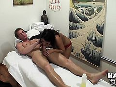 Annie Lee with huge breasts and clean muff strokes man meat harder and faster until man cums