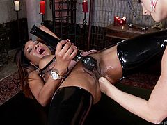 Sexy Chanel is a versed milf, who knows how to turn the atmosphere hotter. The horny lesbian has a new friend to play with. These kittens wear latex, high heels and kinky stockings and love to use toys, such as vibrators. The busty ebony sluts seems to enjoy, when the hot mistress stuffs her hand in her big ass.