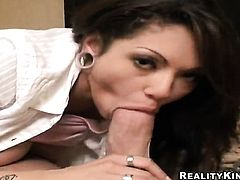 Brunette Adrenalynn is just a slut that masturbates a man