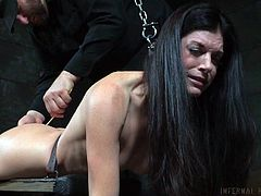 Milf India Summer was shackled and her dominant master didn't care painful screams. With a small stick, he tickled her feet and then, moved on to her asshole. For about thirty minutes, she was humiliated, dominated and tortured and at last, she had a series of intense orgasms.