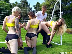 These four slutty chicks, instead of practicing the game, became naked on the field. The coach and goalkeeper, Danny, was upset with their behaviour, but his dick became erect after watching them. Instead of scolding them, he also joined in their dirty games and all of them had fun.