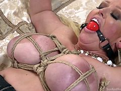 Mature, Alura Jenson, was tied-up and the brutal thief was more interested in her big boobs and pussy, than money. To keep her quiet, he ball-gagged her mouth. Then, he started fucking already wet pussy. He even threatened her to drink all his juice, if she wants to get released.