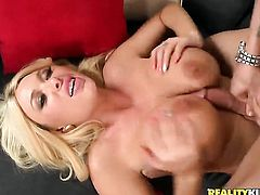 Blonde with gigantic knockers and bald snatch cant keep her eager hands off guys rock hard snake