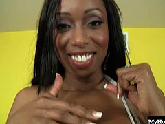 Codi Bryant has flawless tits. They are big and black with dark areola and hard little nipples. They look even better with a fine sheen of oil glistening off of them and they look damn good flopping around on her chest as her pussy is pounded by a well endowed stunt dick.
