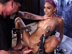 Janice's screams of both pain and pleasure cannot he heard by anyone else, than her merciless executor. While this naked babe is trapped in a kinky hard metal device, she experiences a harsh treatment, as her wonderful tits are tortured. Dare to enjoy the scenes!