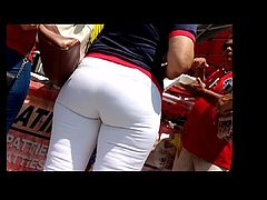Milf ass in tight white jeans