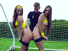 Slutty Mea and her playful companion, Amirah, just can't wait to expose their crazy buttocks. They're on the football field and crave for dick. Click to watch them sucking Danny's cock, on knees. See these hot bitches fucked hard!