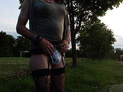Tranny is wanking at set of sun