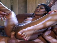 Amazing doll endures double penetration with pussy hungry guys